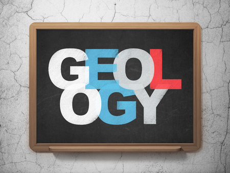 geology: Learning concept: Painted multicolor text Geology on School board background, 3D Rendering Stock Photo
