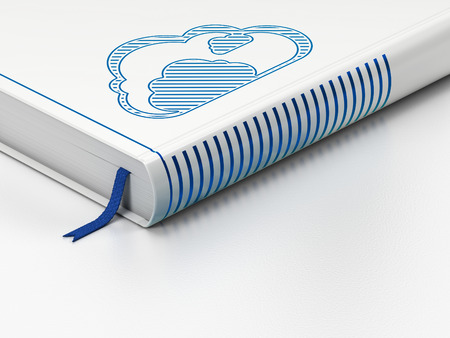 Cloud computing concept: closed book with Blue Cloud icon on floor, white background, 3D rendering
