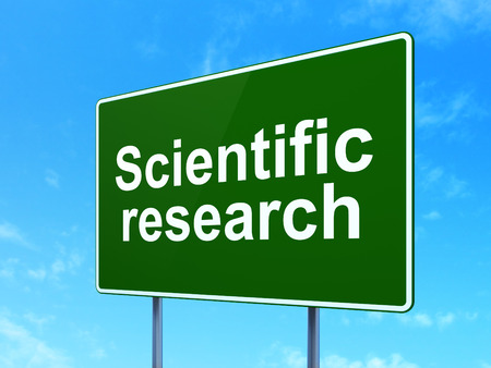 science scientific: Science concept: Scientific Research on green road highway sign, clear blue sky background, 3D rendering Stock Photo