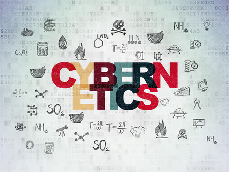cybernetics: Science concept: Painted multicolor text Cybernetics on Digital Data Paper background with  Hand Drawn Science Icons Stock Photo