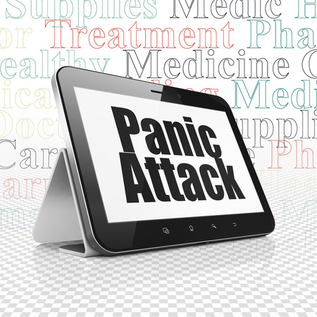 panic attack: Healthcare concept: Tablet Computer with  black text Panic Attack on display,  Tag Cloud background, 3D rendering