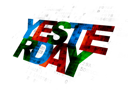 yesterday: Time concept: Pixelated multicolor text Yesterday on Digital background Stock Photo