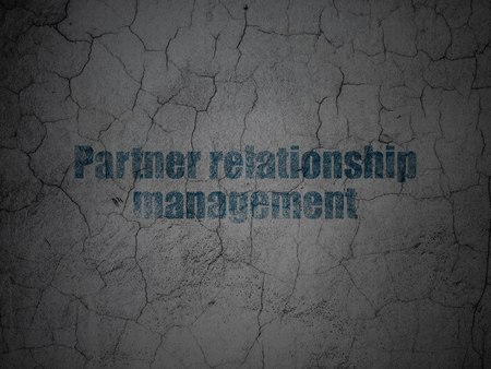 relationship management: Finance concept: Blue Partner Relationship Management on grunge textured concrete wall background Stock Photo