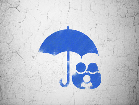 family policy: Privacy concept: Blue Family And Umbrella on textured concrete wall background