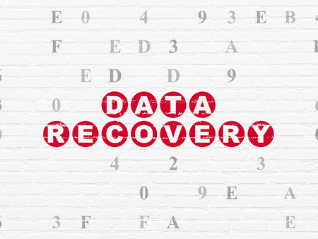 data recovery: Data concept: Painted red text Data Recovery on White Brick wall background with Hexadecimal Code Stock Photo
