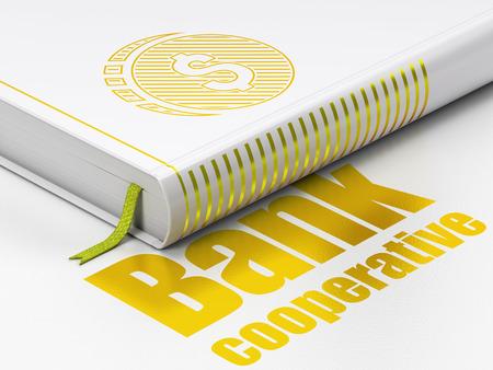 cooperativismo: Concepto de dinero: Libro cerrado con el icono de la moneda de oro del dólar y el texto Banco Cooperativo en el piso, fondo blanco, 3D
