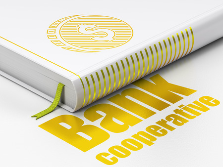 cooperativismo: Money concept: closed book with Gold Dollar Coin icon and text Bank Cooperative on floor, white background, 3D rendering