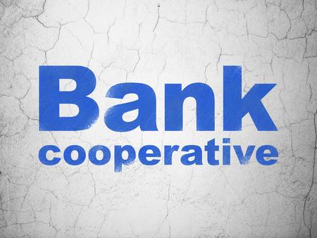 cooperativismo: Concepto de banca: Banco Cooperativo azul en el fondo muro de hormig�n con textura