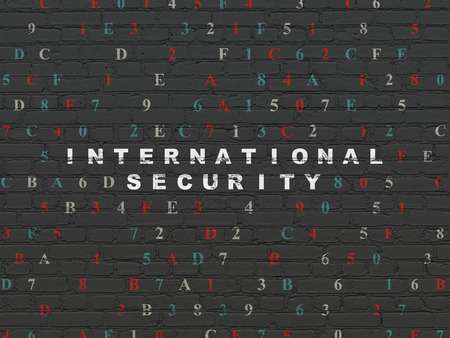 international security: Security concept: Painted white text International Security on Black Brick wall background with Hexadecimal Code