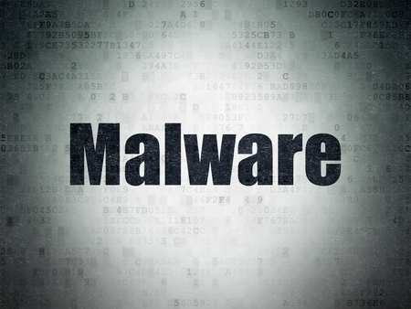 privat: Privacy concept: Painted black word Malware on Digital Data Paper background