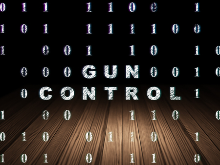 gun room: Safety concept: Glowing text Gun Control in grunge dark room with Wooden Floor, black background with Binary Code Stock Photo