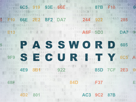 hexadecimal: Protection concept: Painted blue text Password Security on Digital Data Paper background with Hexadecimal Code Stock Photo