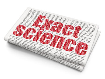exact: Science concept: Pixelated red text Exact Science on Newspaper background, 3D rendering