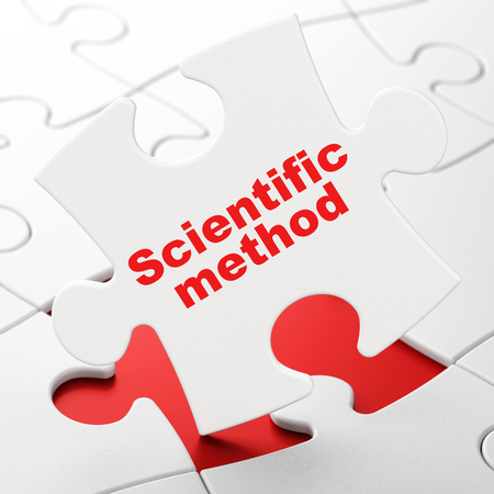 metodo cientifico: Science concept: Scientific Method on White puzzle pieces background, 3D rendering