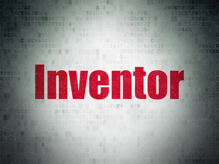 inventor: Science concept: Painted red word Inventor on Digital Data Paper background