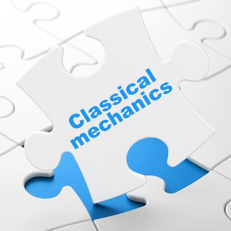 classical mechanics: Science concept: Classical Mechanics on White puzzle pieces background, 3D rendering