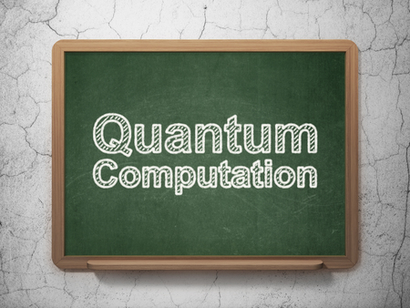 computation: Science concept: text Quantum Computation on Green chalkboard on grunge wall background, 3D rendering