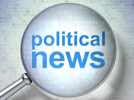 breaking the code: News concept: magnifying optical glass with words Political News on digital background, 3D rendering