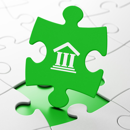 building regulations: Law concept: Courthouse on Green puzzle pieces background, 3D rendering Stock Photo