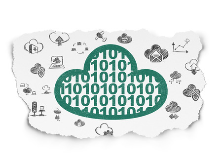 green computing: Cloud computing concept: Painted green Cloud With Code icon on Torn Paper background with  Hand Drawn Cloud Technology Icons Stock Photo
