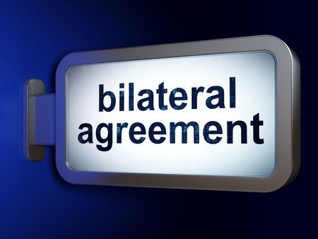 bilateral: Insurance concept: Bilateral Agreement on advertising billboard background, 3D rendering