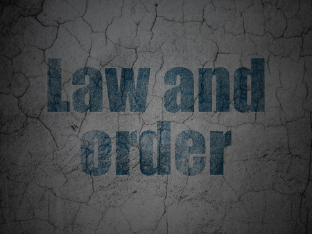 law and order: Law concept: Blue Law And Order on grunge textured concrete wall background Stock Photo