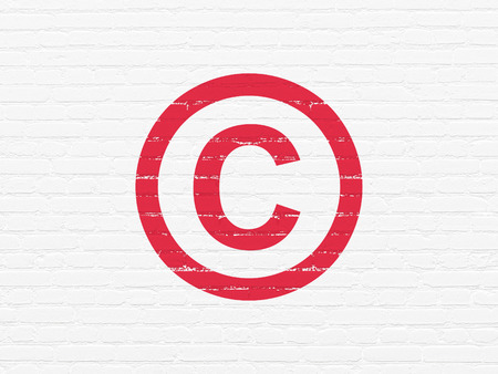 Law concept: Painted red Copyright icon on White Brick wall background