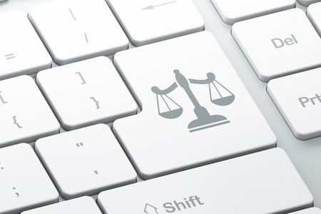 criminal act: Law concept: Enter button with Scales on computer keyboard background, 3D rendering