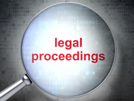 proceedings: Law concept: magnifying optical glass with words Legal Proceedings on digital background, 3D rendering