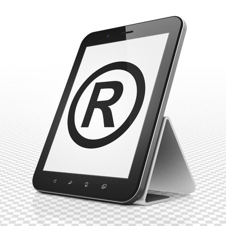 r regulation: Law concept: Tablet Computer with black Registered icon on display, 3D rendering