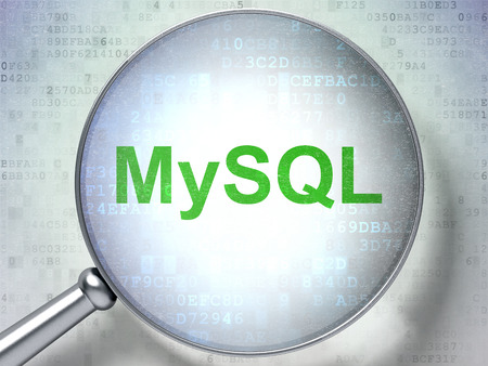 mysql: Software concept: magnifying optical glass with words MySQL on digital background, 3D rendering