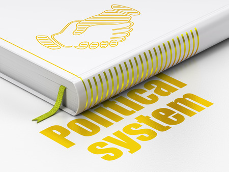 political system: Political concept: closed book with Gold Handshake icon and text Political System on floor, white background, 3D rendering