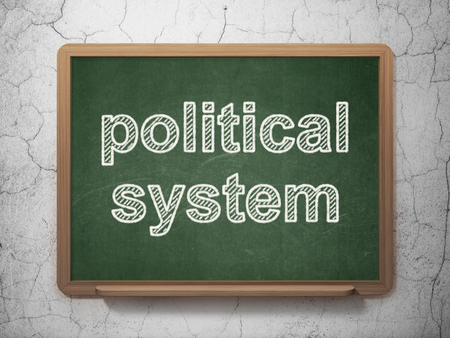 political system: Politics concept: text Political System on Green chalkboard on grunge wall background, 3D rendering