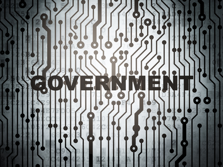electronic voting: Politics concept: circuit board with  word Government, 3D rendering Stock Photo
