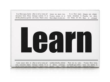 newspaper headline: Learning concept: newspaper headline Learn on White background, 3D rendering