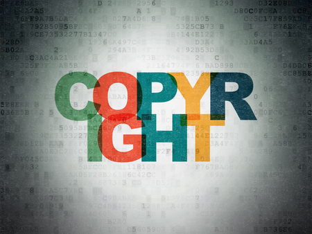data protection act: Law concept: Painted multicolor text Copyright on Digital Data Paper background