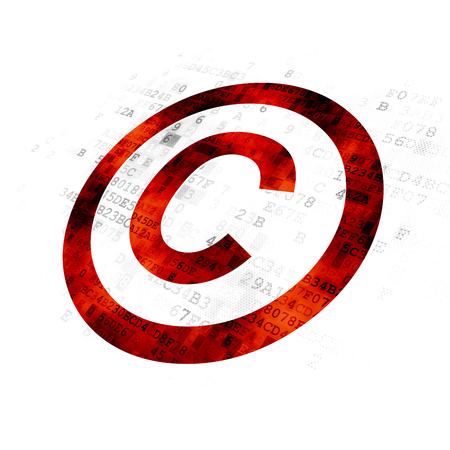 cyber defence: Law concept: Pixelated red Copyright icon on Digital background
