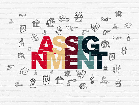 assignment: Law concept: Painted multicolor text Assignment on White Brick wall background with  Hand Drawn Law Icons Stock Photo