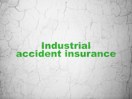 industrial accident: Insurance concept: Green Industrial Accident Insurance on textured concrete wall background