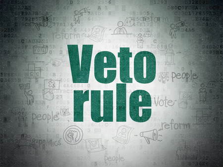 veto: Political concept: Painted green text Veto Rule on Digital Data Paper background with  Scheme Of Hand Drawn Politics Icons