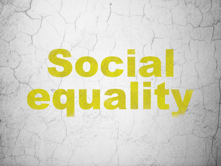 dictatorship: Politics concept: Yellow Social Equality on textured concrete wall background