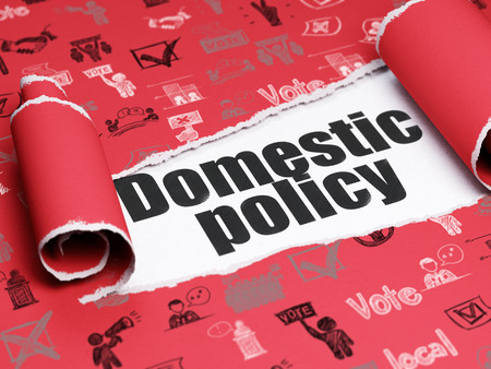 domestic policy: Politics concept: black text Domestic Policy under the curled piece of Red torn paper with  Hand Drawn Politics Icons, 3D rendering