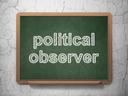observer: Politics concept: text Political Observer on Green chalkboard on grunge wall background, 3D rendering
