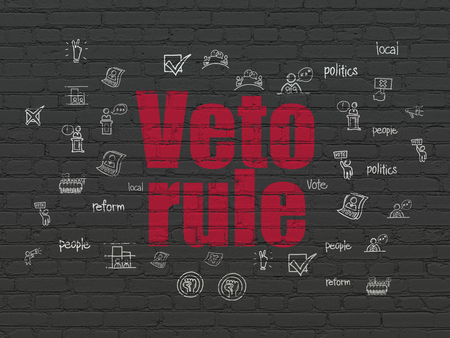 veto: Politics concept: Painted red text Veto Rule on Black Brick wall background with  Hand Drawn Politics Icons
