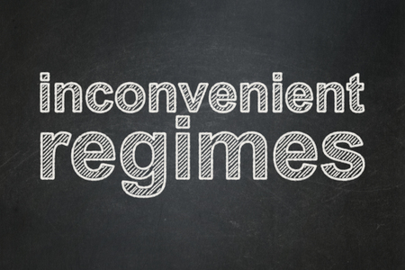 regimes: Political concept: text Inconvenient Regimes on Black chalkboard background