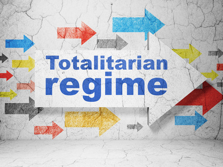regime: Politics concept:  arrow with Totalitarian Regime on grunge textured concrete wall background, 3D rendering Stock Photo