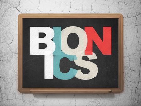 bionics: Science concept: Painted multicolor text Bionics on School board background, 3D Rendering