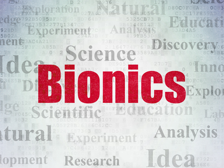 bionics: Science concept: Painted red text Bionics on Digital Data Paper background with   Tag Cloud Stock Photo