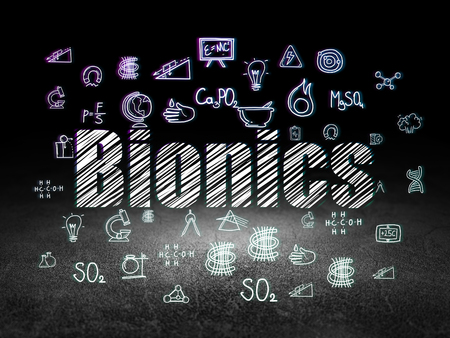 bionics: Science concept: Glowing text Bionics,  Hand Drawn Science Icons in grunge dark room with Dirty Floor, black background Stock Photo