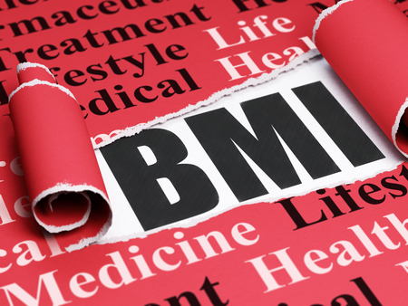 BMI: Medicine concept: black text BMI under the curled piece of Red torn paper with  Tag Cloud, 3D rendering